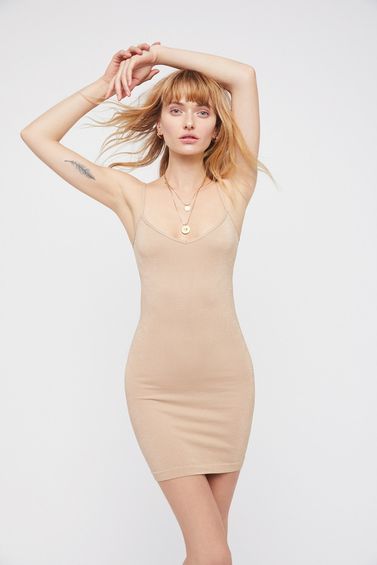 Kleider New Intimately by Free People Low Back Nude Mini