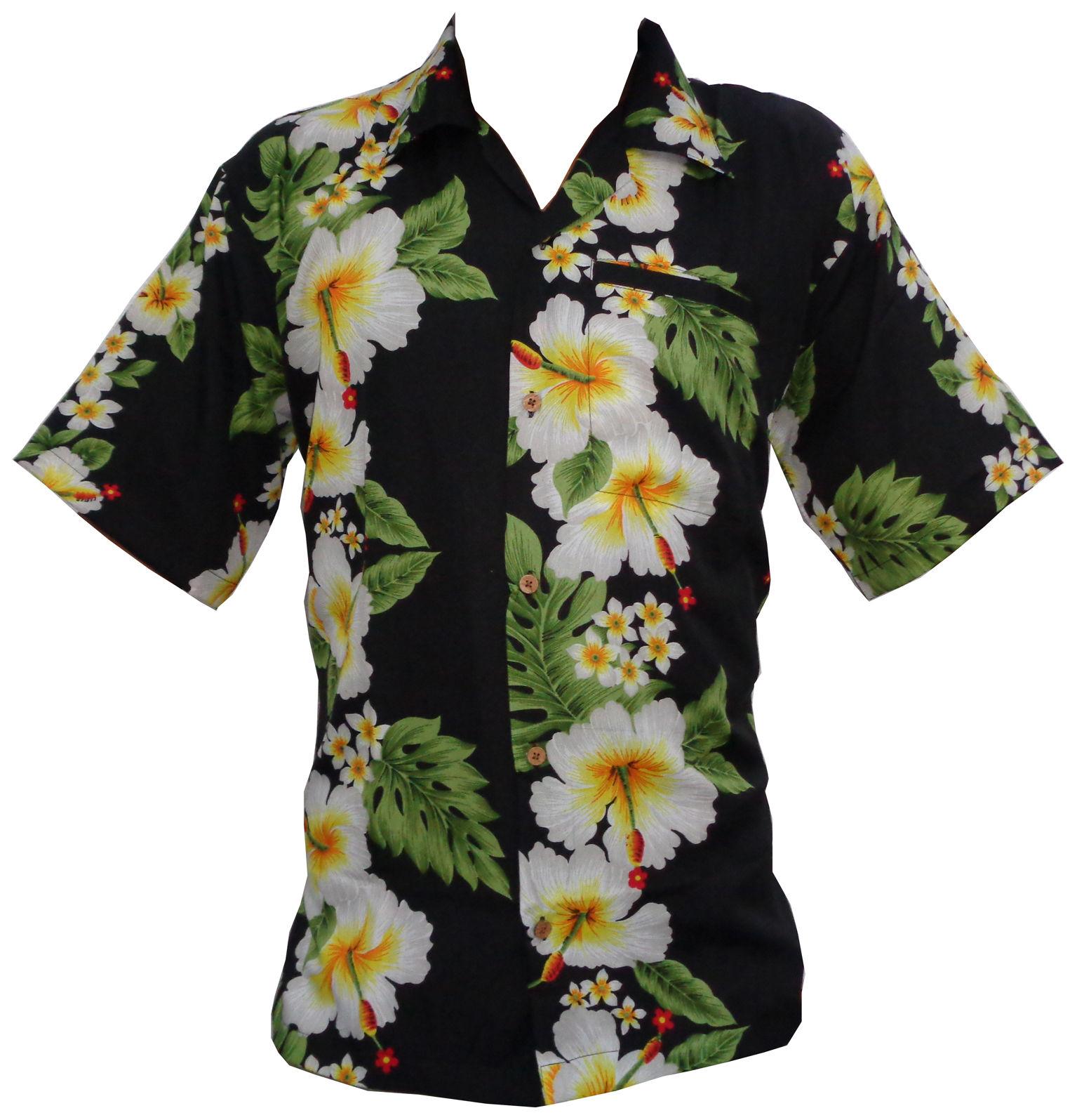 Hawaiian Shirts Mens Hibiscus Flower Print Beach Party