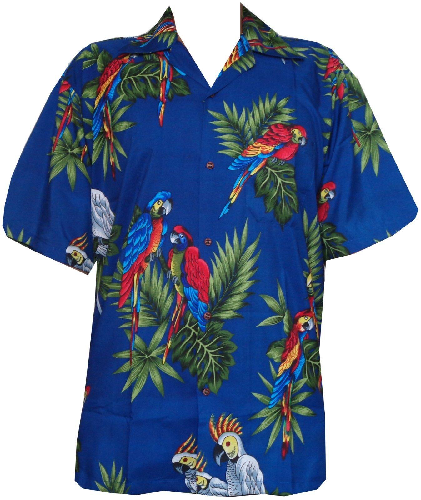 Hawaiian Shirt Mens Parrot/Toucan Print Beach Aloha Party ...