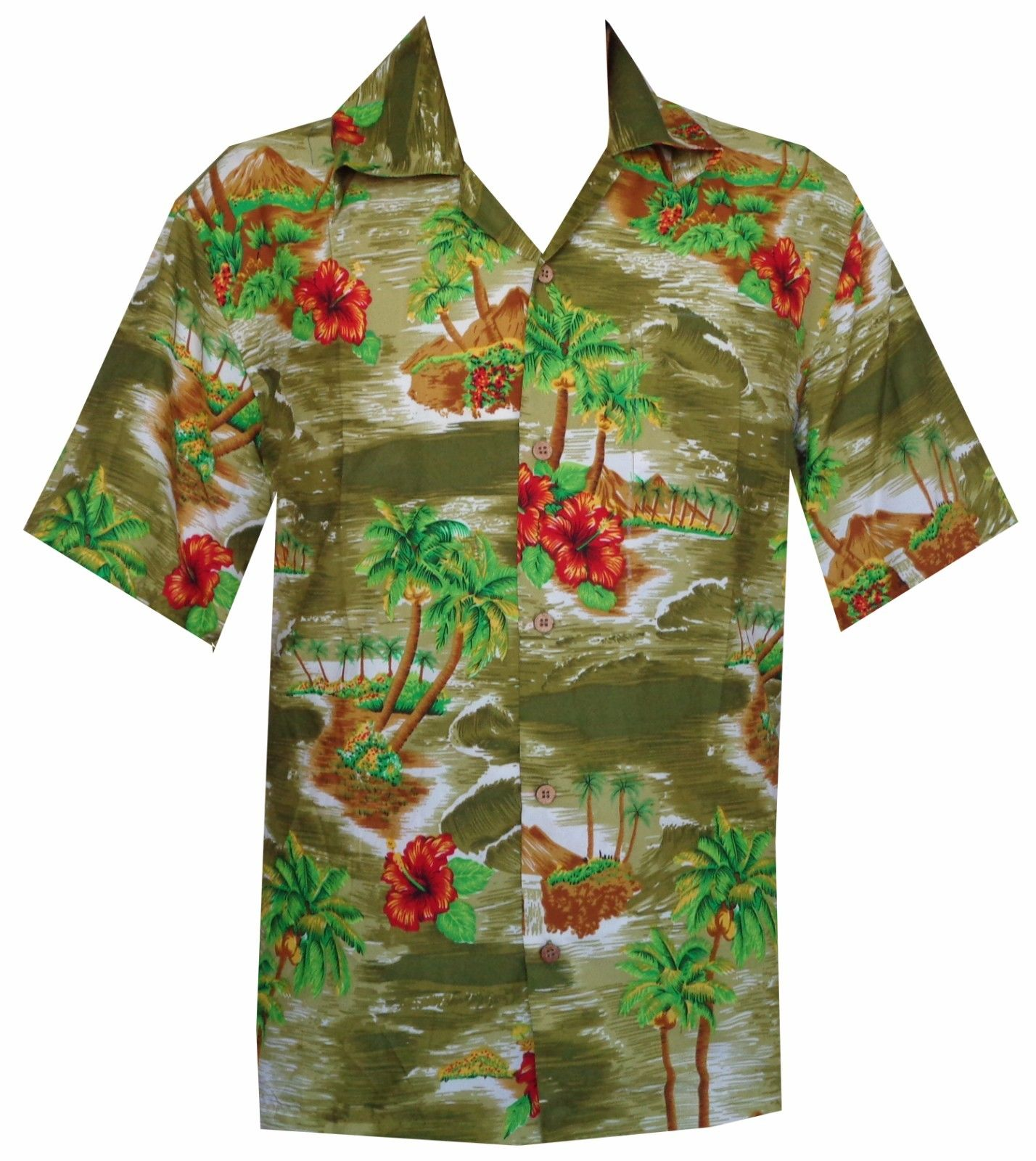 Hawaiian shirt mens scenic flower print beach aloha party for Flower print mens shirt