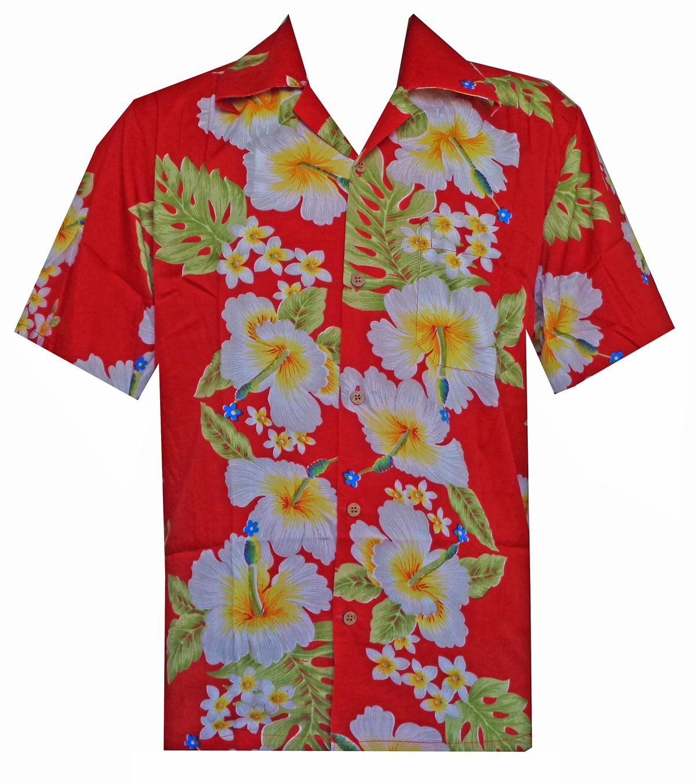 Hawaiian shirts mens hibiscus flower print beach party for Flower print mens shirt