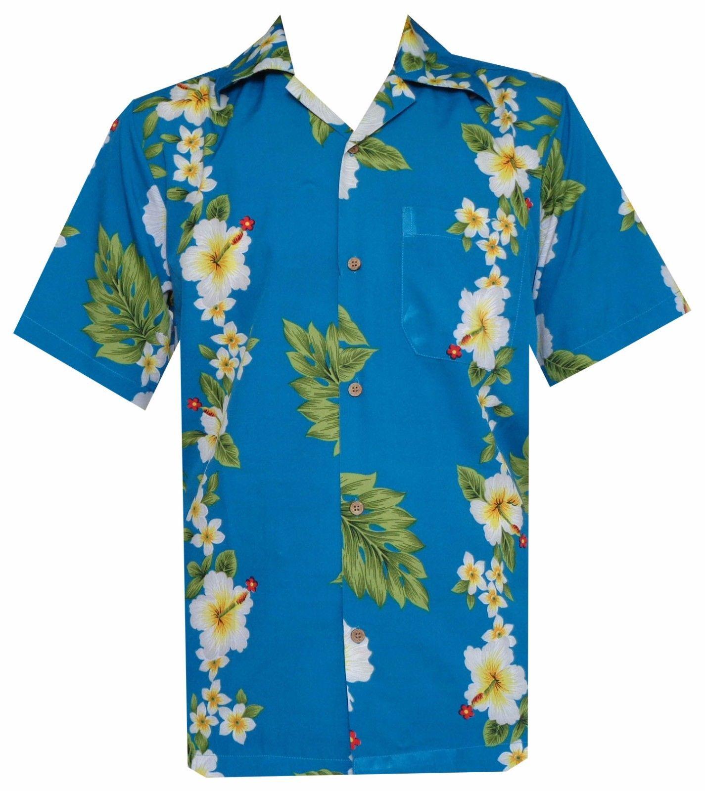 Hawaiian shirts mens hibiscus flower print beach party for Lsu hawaiian print shirts