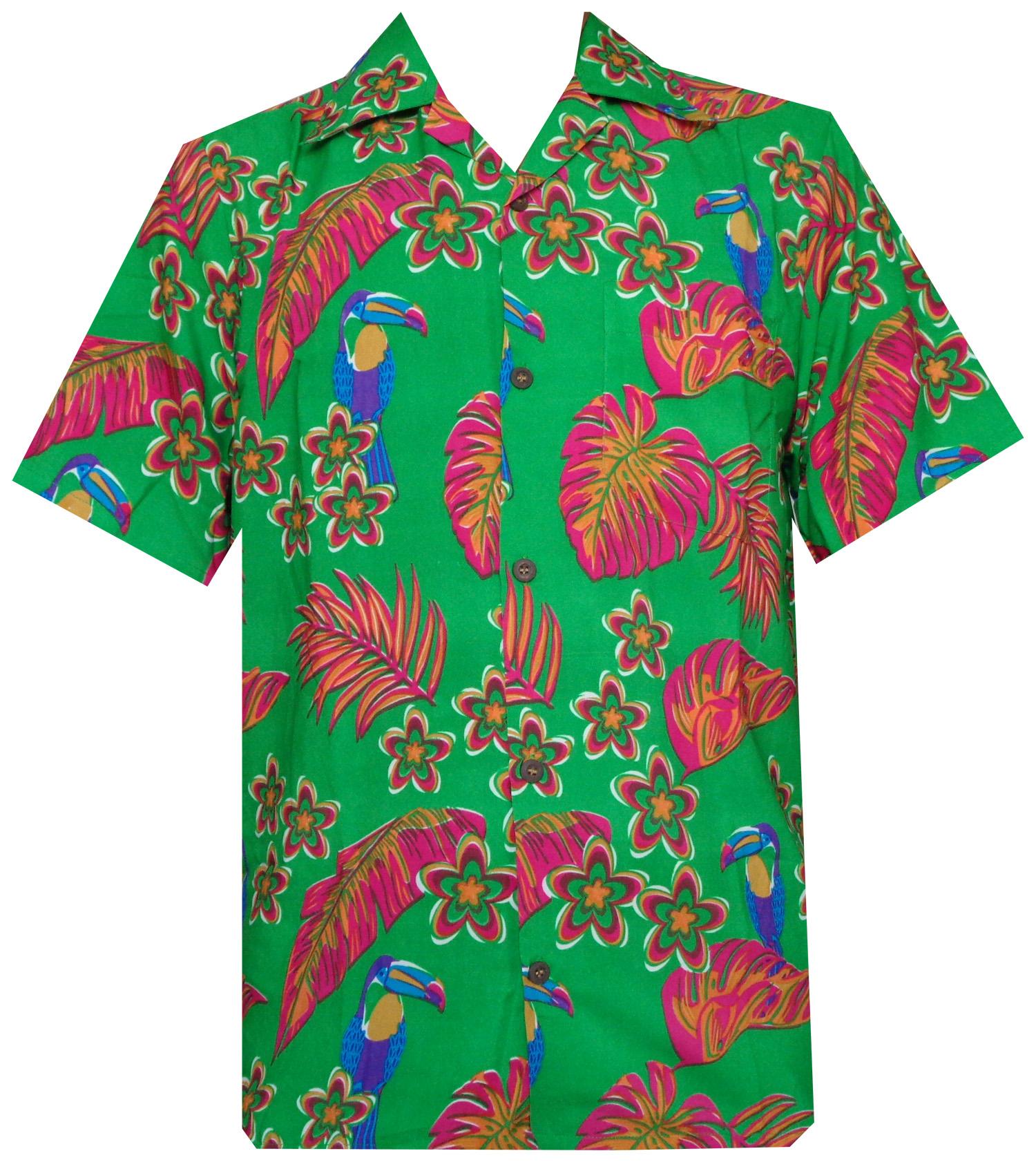 Hawaiian shirt mens parrot toucan print beach aloha party for The hawaiian shirt company