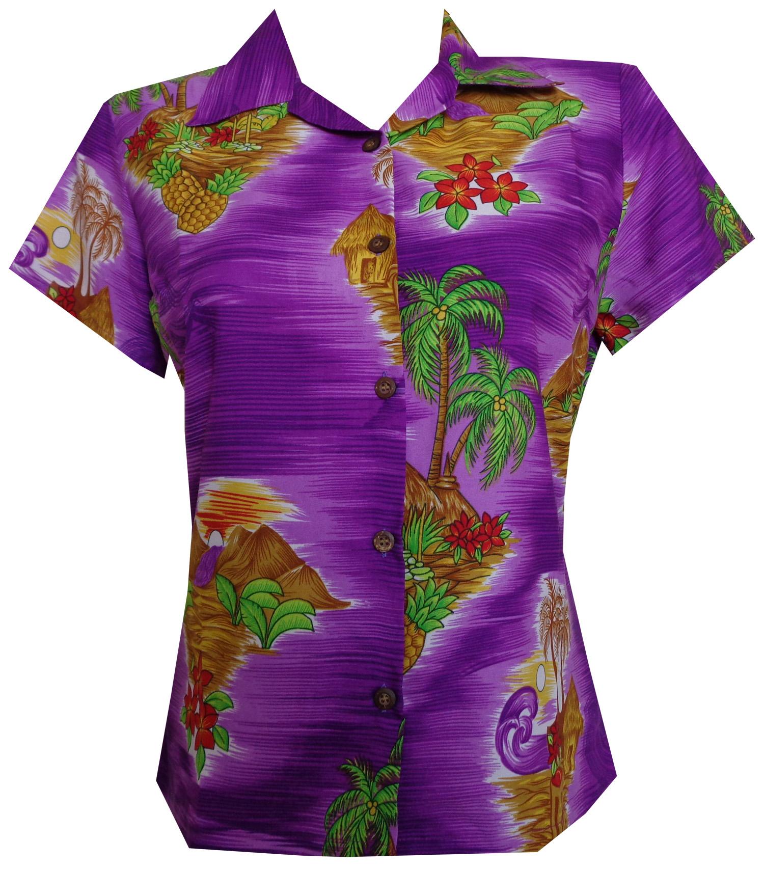 Hawaiian shirt women scenic flower print aloha beach for Lsu hawaiian print shirts
