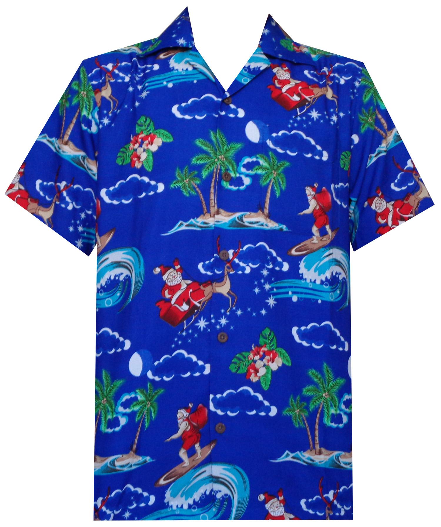 Hawaiian shirt mens christmas santa claus party aloha for The hawaiian shirt company