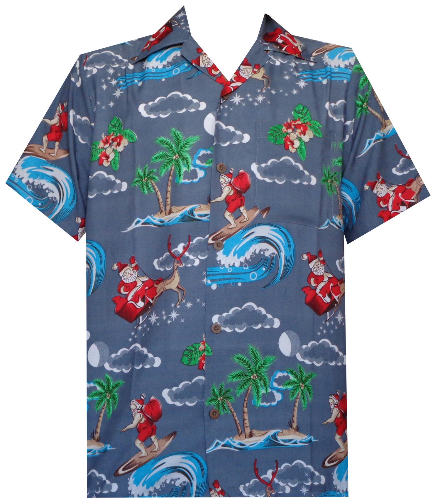 Hawaiian Shirt Mens Christmas Santa Claus Party Aloha ...