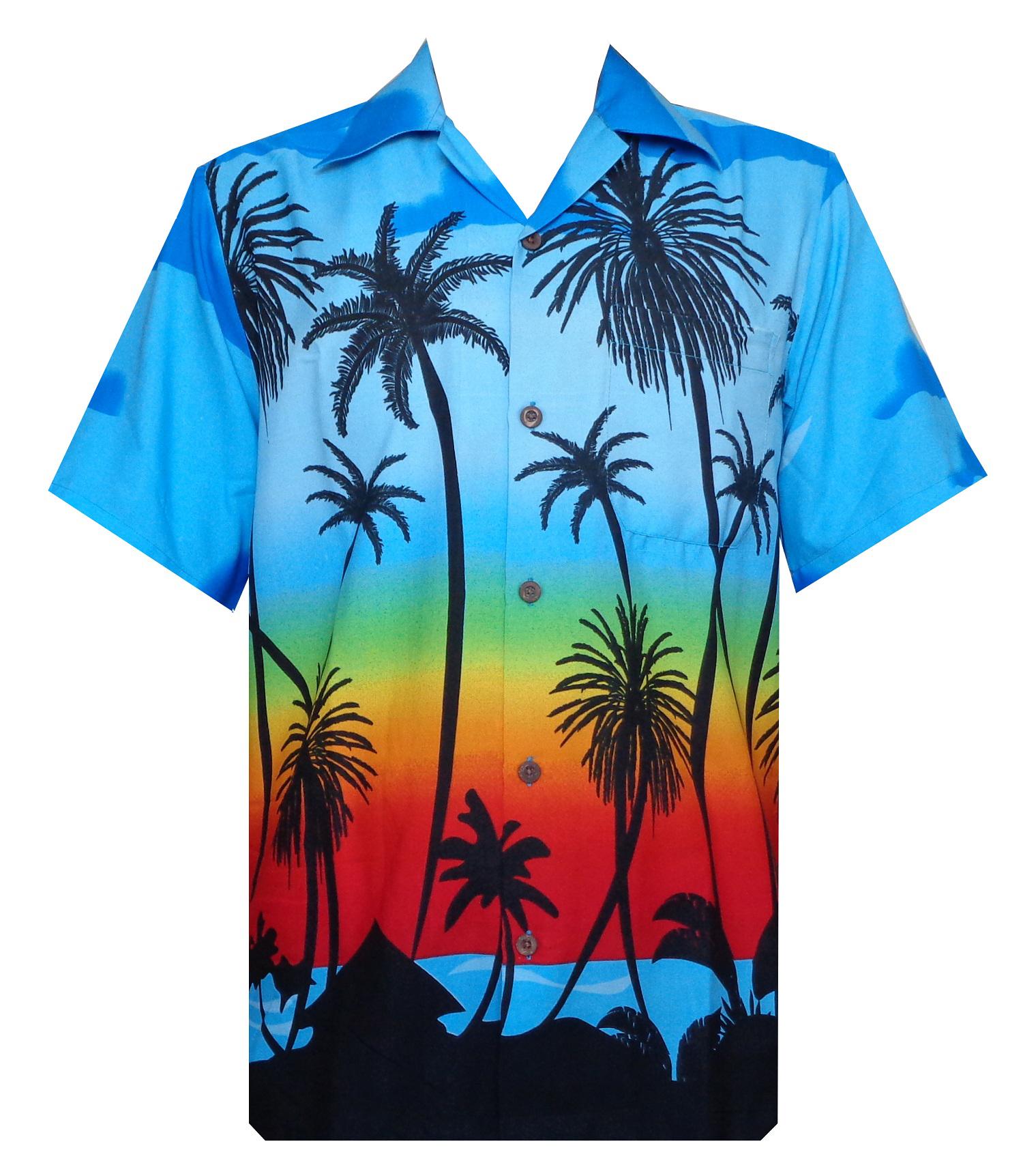 Hawaiian shirt 5 mens allover coconut tree print beach for Lsu hawaiian print shirts