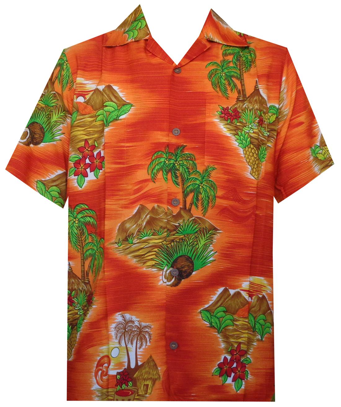 Hawaiian shirt mens scenic flower print beach aloha party for Lsu hawaiian print shirts