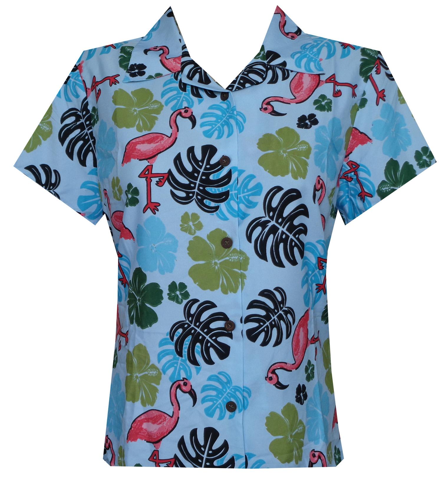 Hawaiian shirt women flamingo leaf print aloha beach for Lsu hawaiian print shirts