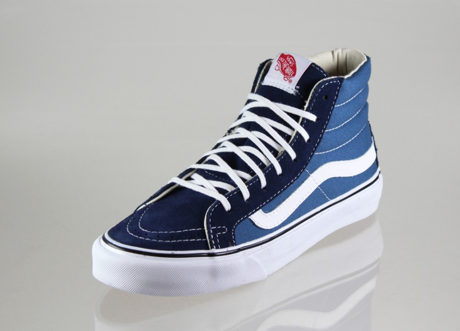 88b6d18c2f Vans SK8 HI SLIM Navy White Women s Shoes 10 5 5 of 5 See More