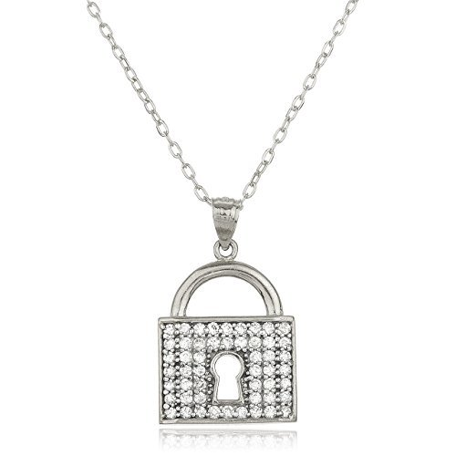 14k white gold key lock pendant cz stones 18 inch gold layered image is loading 14k white gold key lock pendant cz stones aloadofball