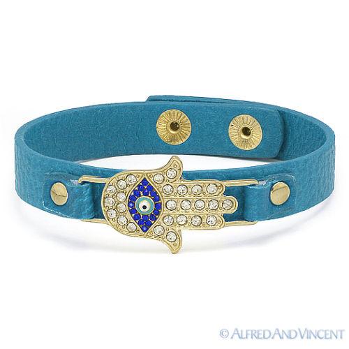 Hamsa Hand of Fatima Jewish Kabbalah Evil Eye Charm Leather Cuff Bangle Bracelet