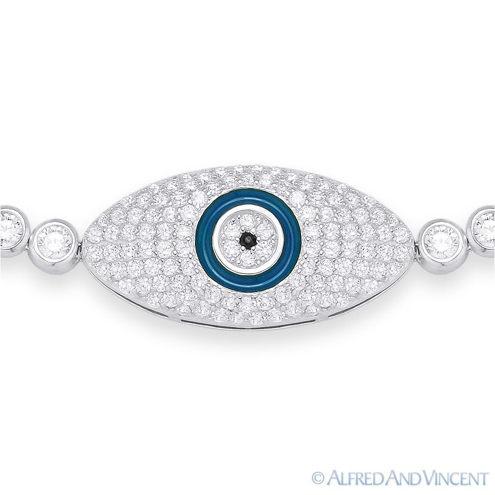 Evil Eye Charm Turkish Nazar Greek Hamsa .925 Sterling Silver /& Crystal Bracelet