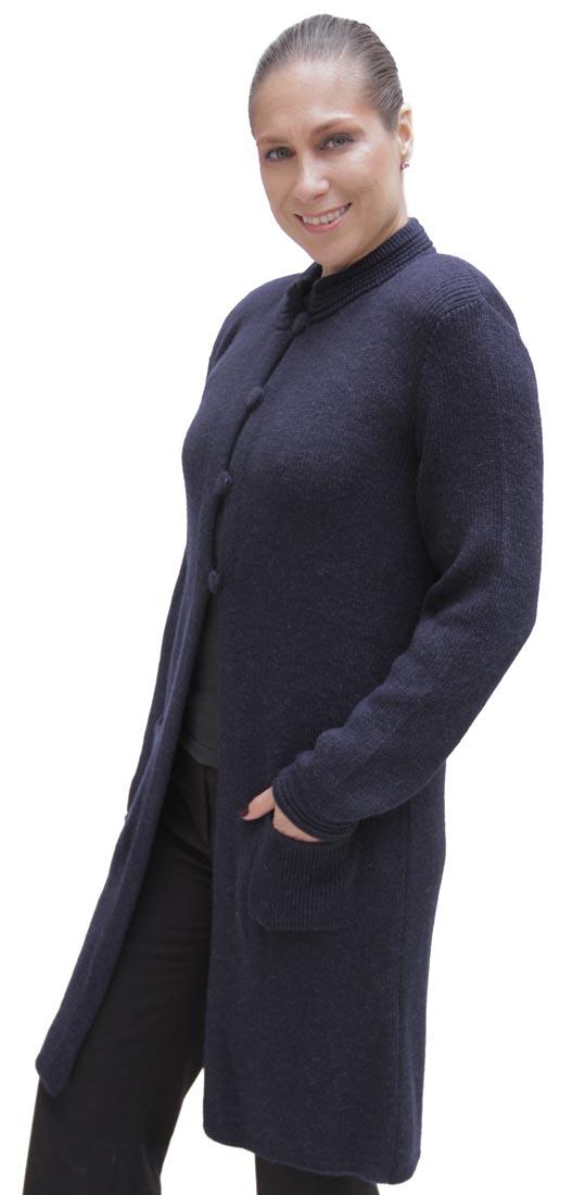 Women/'s Soft Alpaca Wool Four-Button Knitted Cardigan Long Coat Sweater