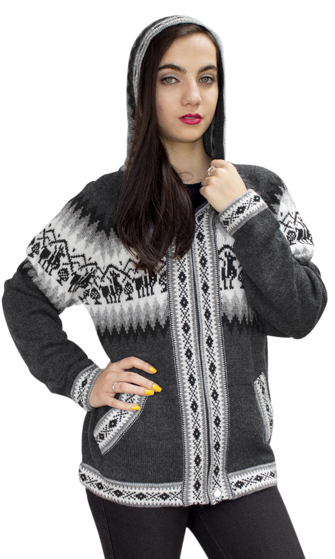 Little Llamas Hooded Alpaca Wool Knitted Jacket Hoodie Sweater