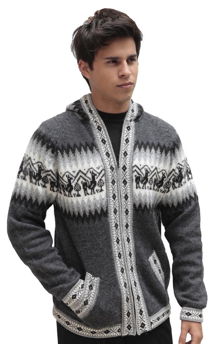 9166cb05e01b Mens Alpaca Wool Knitted Jacket Hooded Hood Sweater - Little Llamas ...