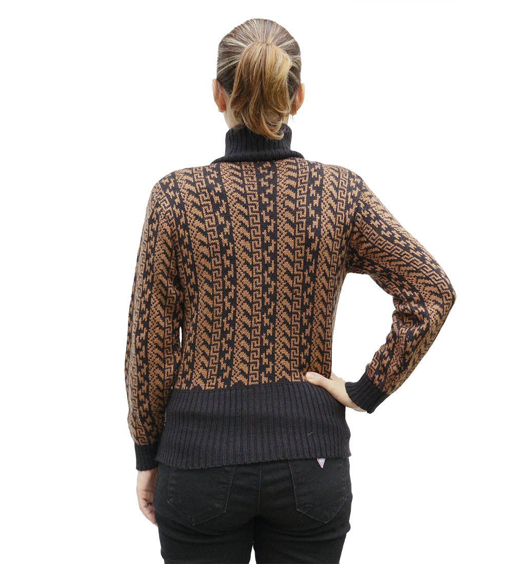 Womens Alpaca Wool Blend High Neck Fitted Jacket Sweater Andes Design Size M