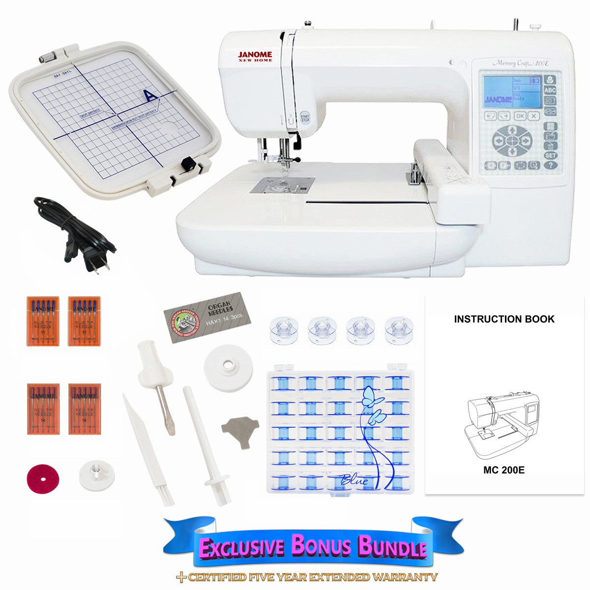Janome memory craft 9000 - Janome Memory Craft 200e Embroidery Machine Includes Exclusive
