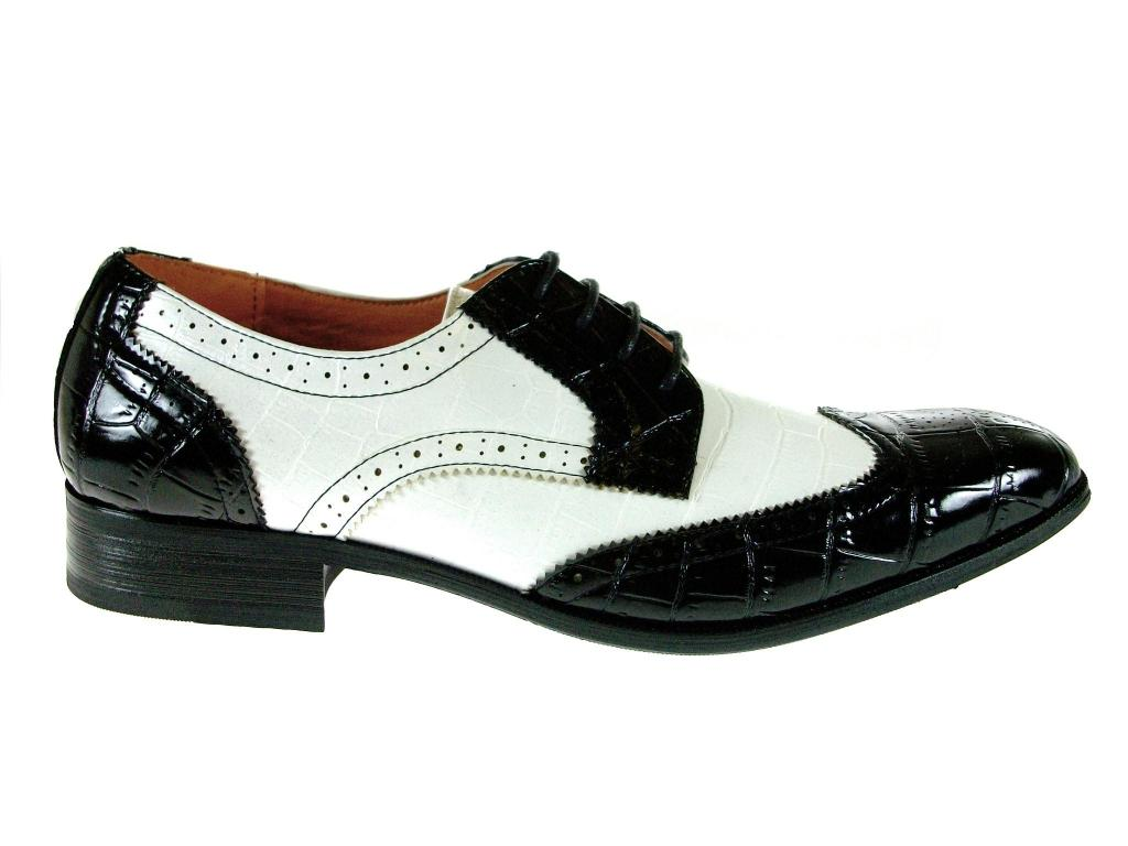 mens ferro aldo black white spectators wingtip oxford