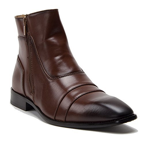 New Mens 97773 Leather Lined Almond Toe Tall Designer Vamp Zipped Dress Boots  1S9413SOQ