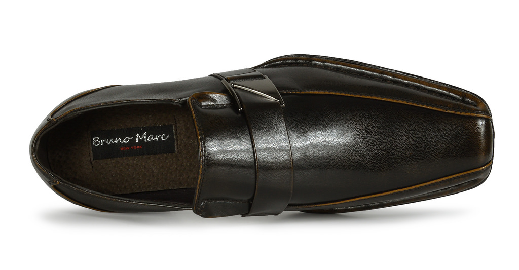 Bruno MARC GIORGIO Mens Square Toe Stretch Insert Slip On Loafers Dress Shoes