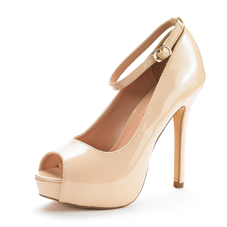 SWAN-10 New Womenu0026#39;s Ankle Strap Peep Toe High Heel Platform Pump Shoes   EBay