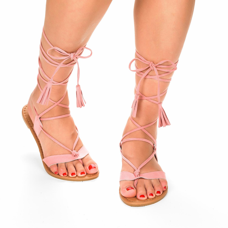 Flat sandals - Sammy New Women Fashion Crisscross Lace Up Summer