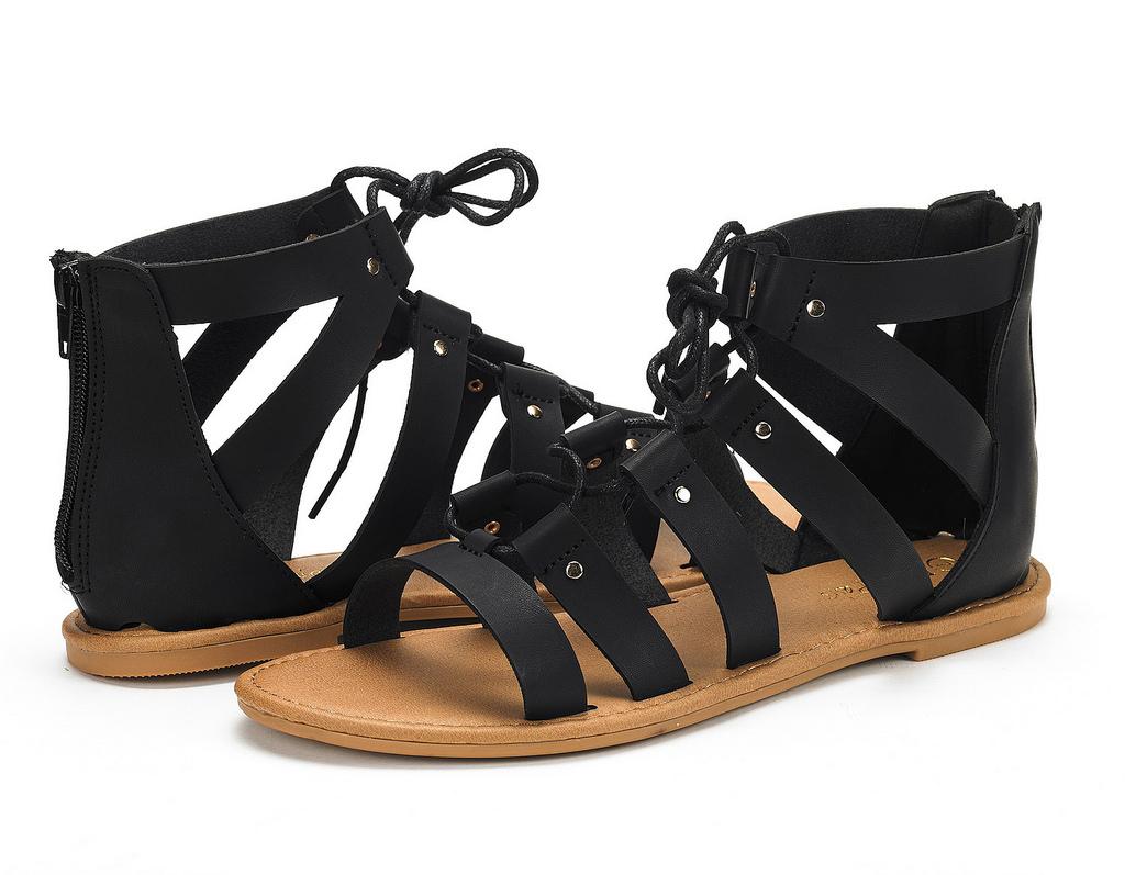 DREAM PAIRS ARIZONA Women Gladiator Zipper Lace Up Straps Summer Flats Sandals