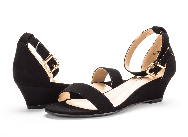20761dbd774037 INGRID Women Summer Open Toe Ankle Strap Buckle Thong Design Low ...