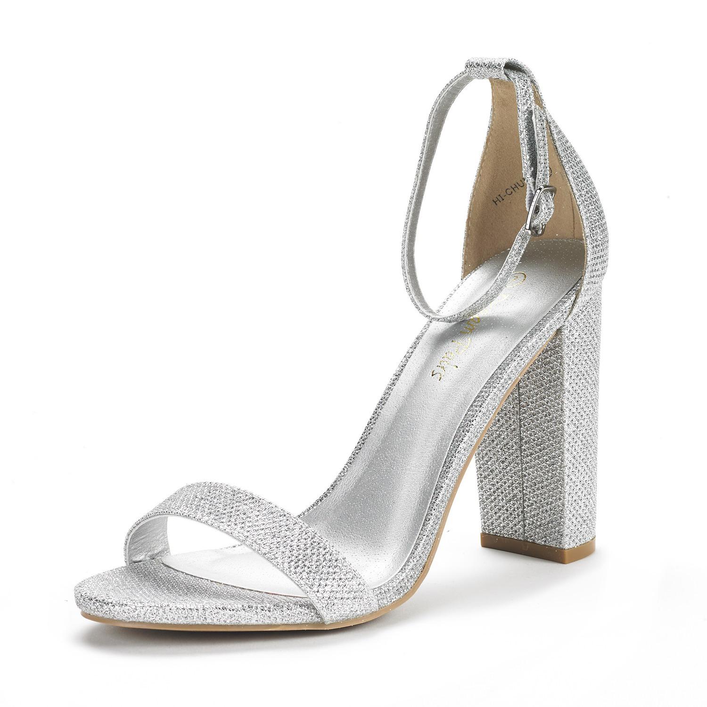 Chunky Wedding Heels: DREAM PAIRS HI-CHUNK Women High Chunky Heel Ankle Strap