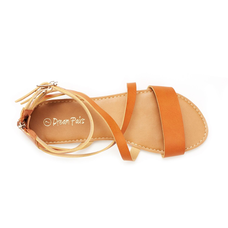 DREAM PAIRS Women Safari Open-toe Ankle Crisscross Straps Buckle Flats Sandals