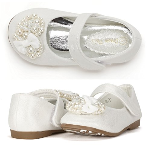 Dream Pairs ANGEL-66 Mary Jane Rhinestone //Pearls  Strap Ballerina Flat