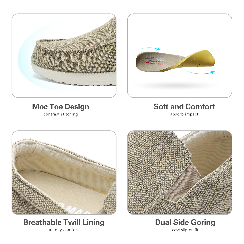 Bruno Marc Men/'s Lightweight Canvas Slip On Loafer Shoes Moccasins Walking Shoes