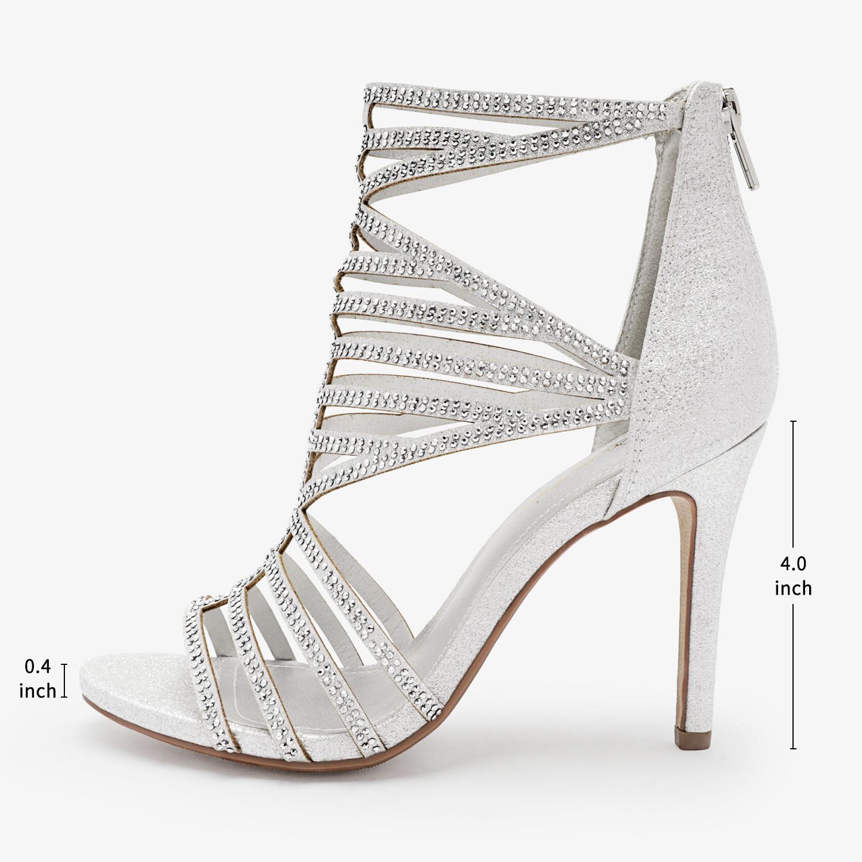 Women/'s Open Toe Stilettos High Heel Sandals Back Zipper Wedding Party Shoes