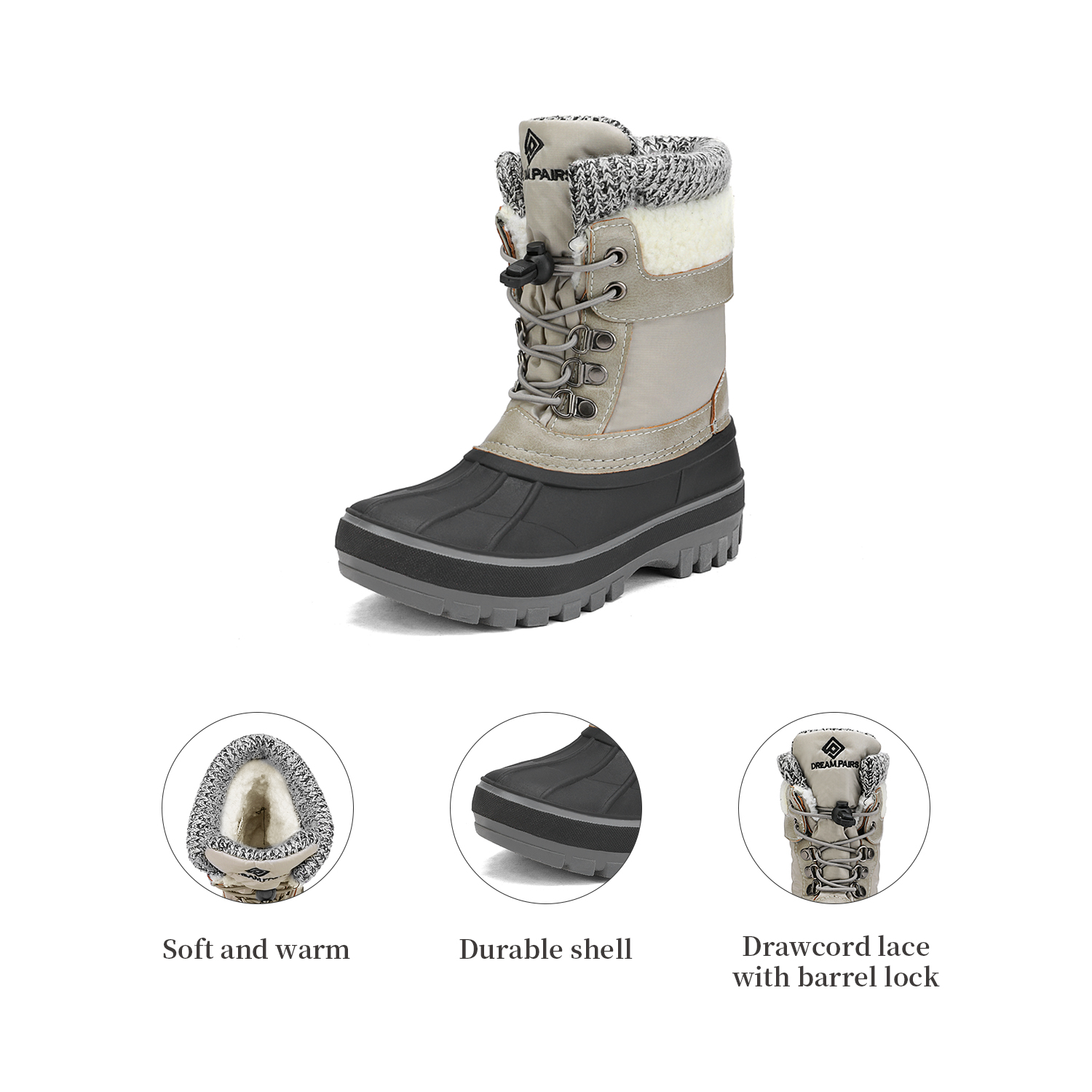DREAM PAIRS Toddlers Kids Boys Girls Winter Snow Boots Waterproof Outdoor Shoes