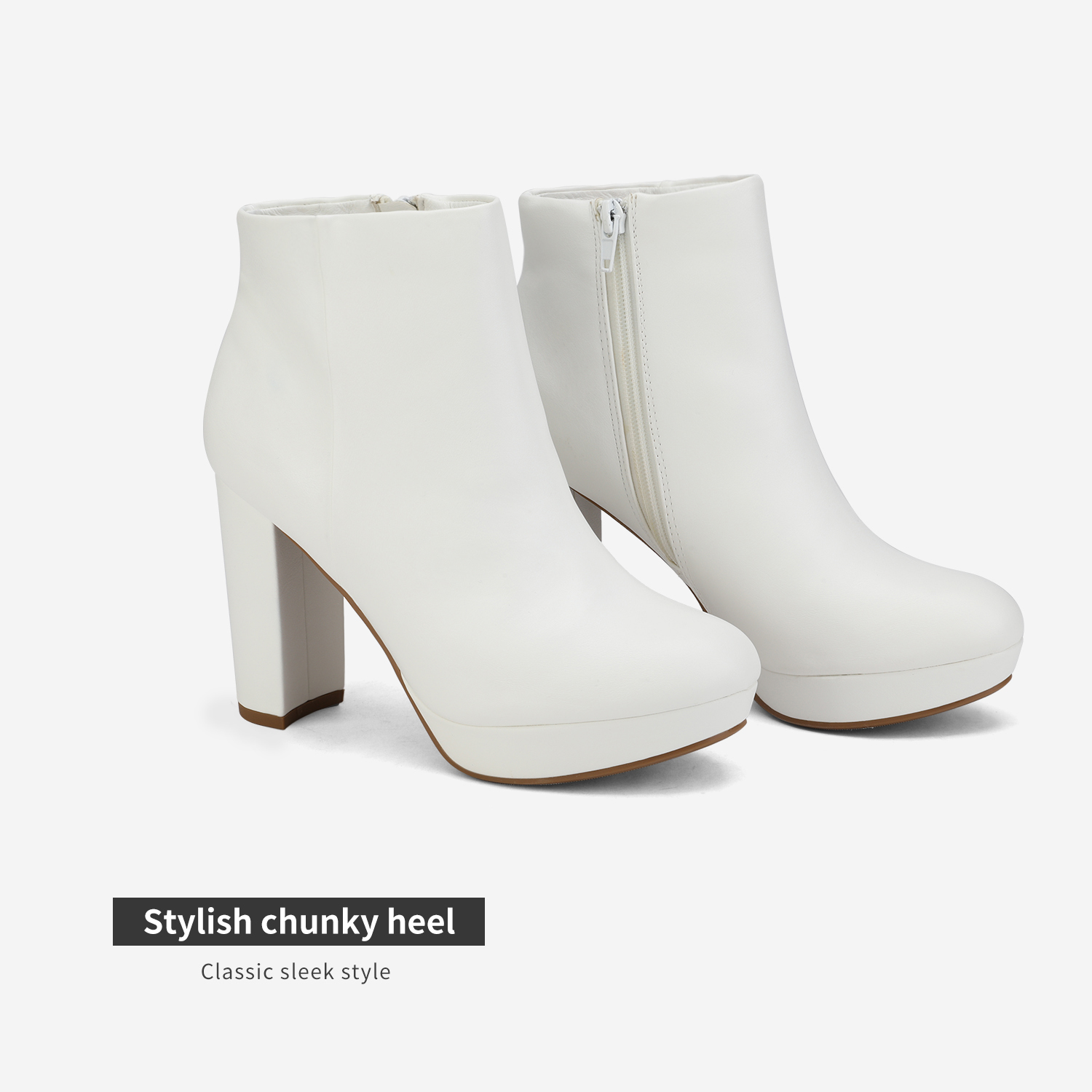 DREAM PAIRS Women/'s NEW Slip On Ankle Boots Chunky High Heel Side Zipper Boots