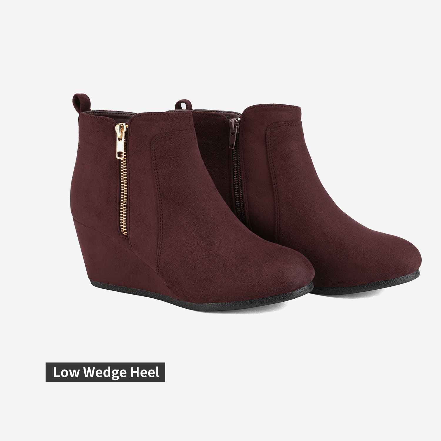 DREAM PAIRS Womens Low Wedge Ankle Boots Round Toe Suede Zip Winter Warm Booties