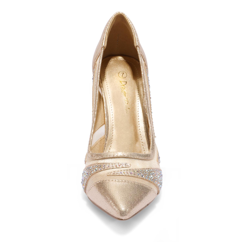 Dream paires Femme Slip on Pompe Chaussures Stilettos Talon Haut Bout Pointu Chaussures
