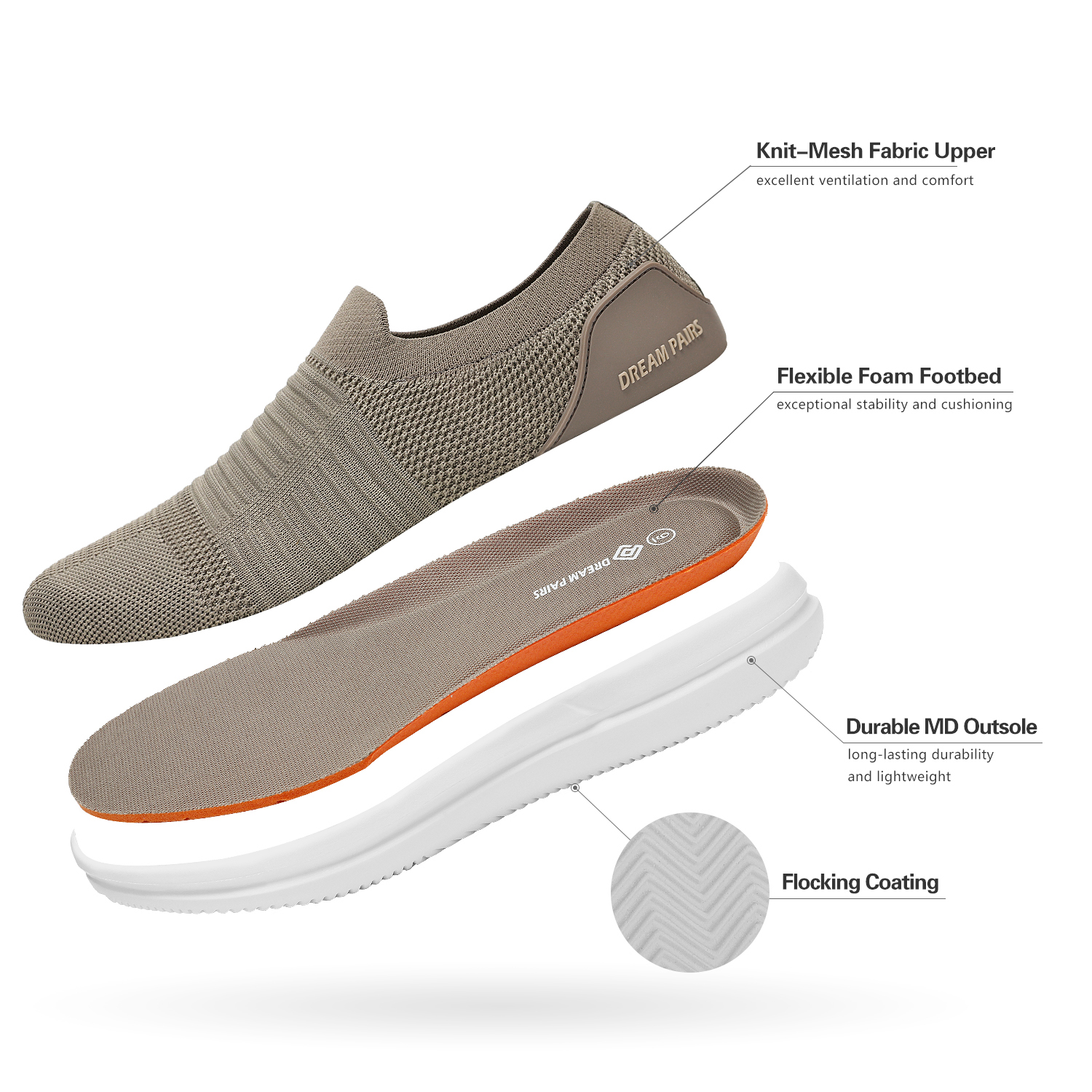 Men/'s Mesh Casual Loafer Shoes Lightweight Slip On Sneakers Walking Shoes