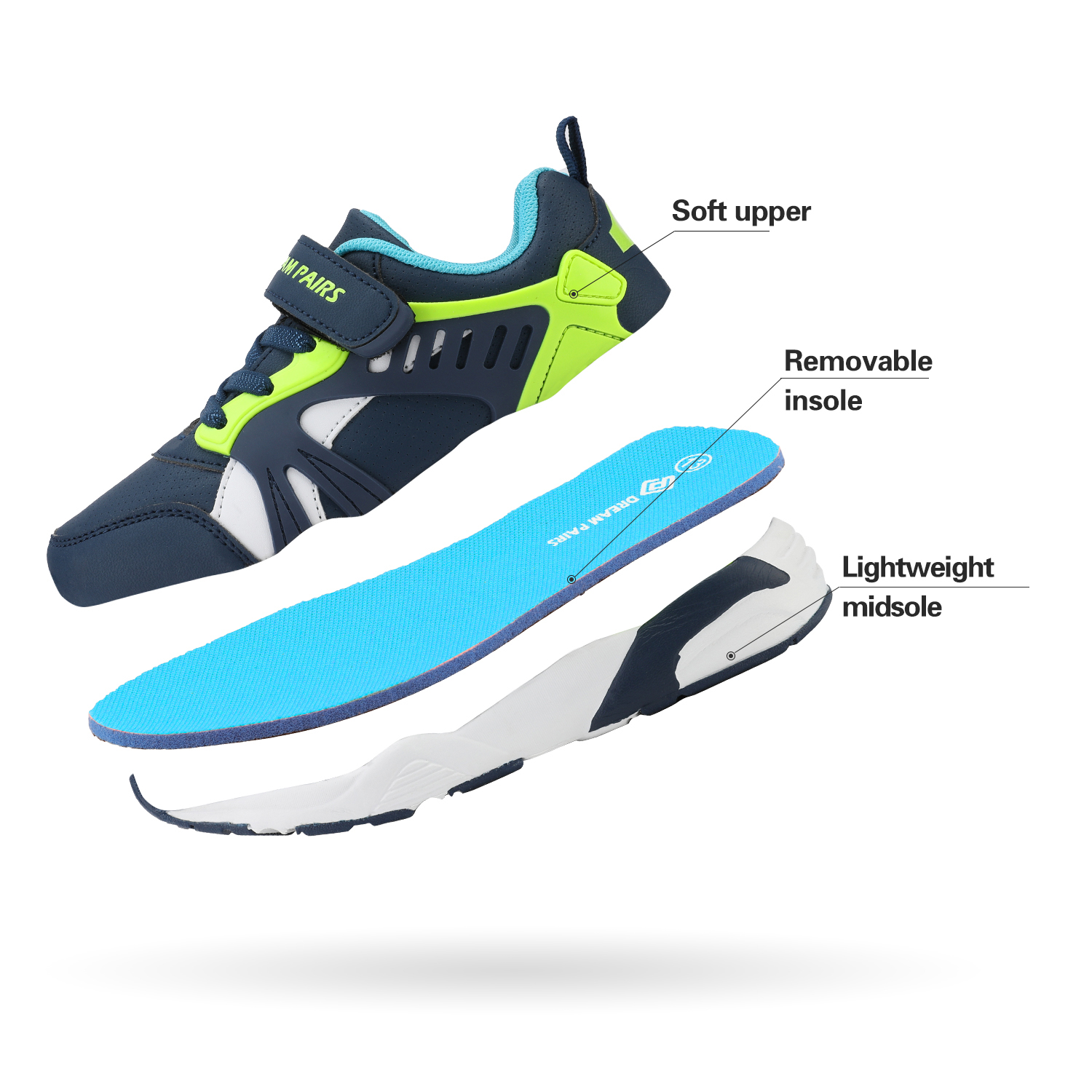 DREAM PAIRS Kids Sneakers Running Shoes Sports Casual Athletic Walking Boy Girls