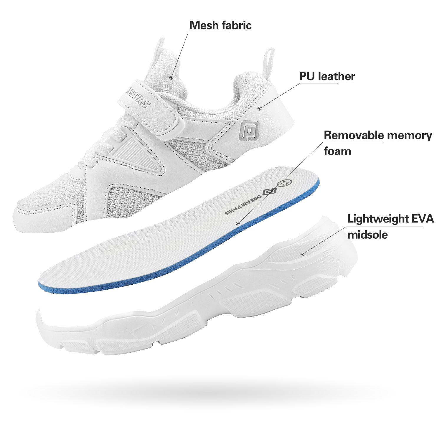 Kids Sneakers Boys Girls Running Shoes Lightweight Breathable Boys Tennis Shoes