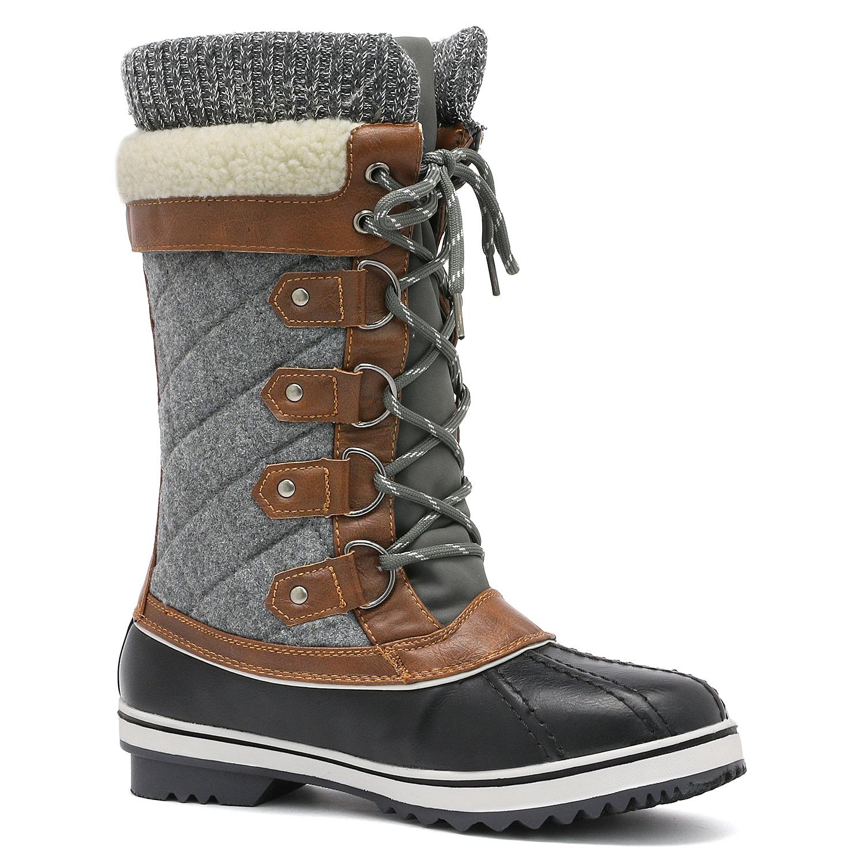DREAM PAIRS Women MONTE New Waterproof  Fur Warm Mid Calf Flat Winter Snow Boots
