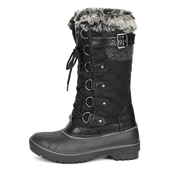 DREAM PAIRS Women Winter insulation Waterproof Knee High Faux Fur Snow Boots