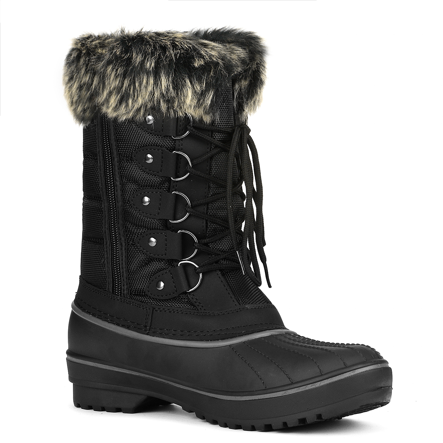DREAM PAIRS Women Waterproof Faux Fur Mid Calf Lace Up Winter Warm Snow Boots US