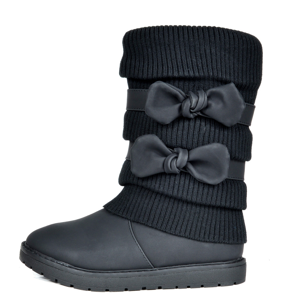 DREAM PAIRS Kids Girls Winter Snow Boots Bow-knot Faux Fur Lined Mid Calf Boots