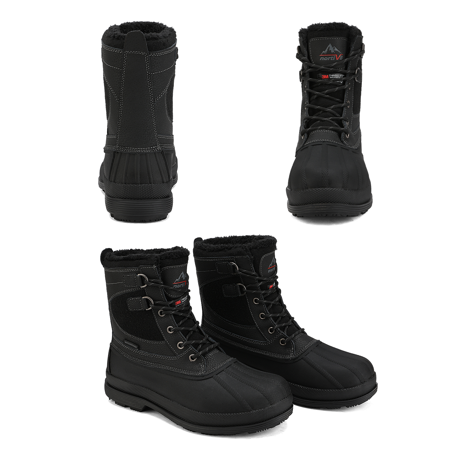 US Mens Winter Lace Up Snow Boots Warm Thermolite Waterproof  Outdoor Work Boots