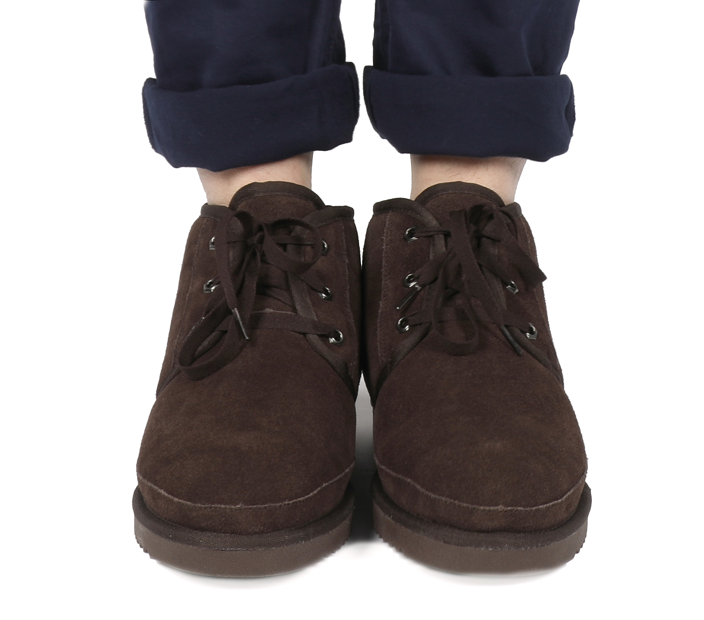 DREAM PAIRS Men Wolly-01 Suede Sheepskin Fur House Loafers Casual Winter Boots