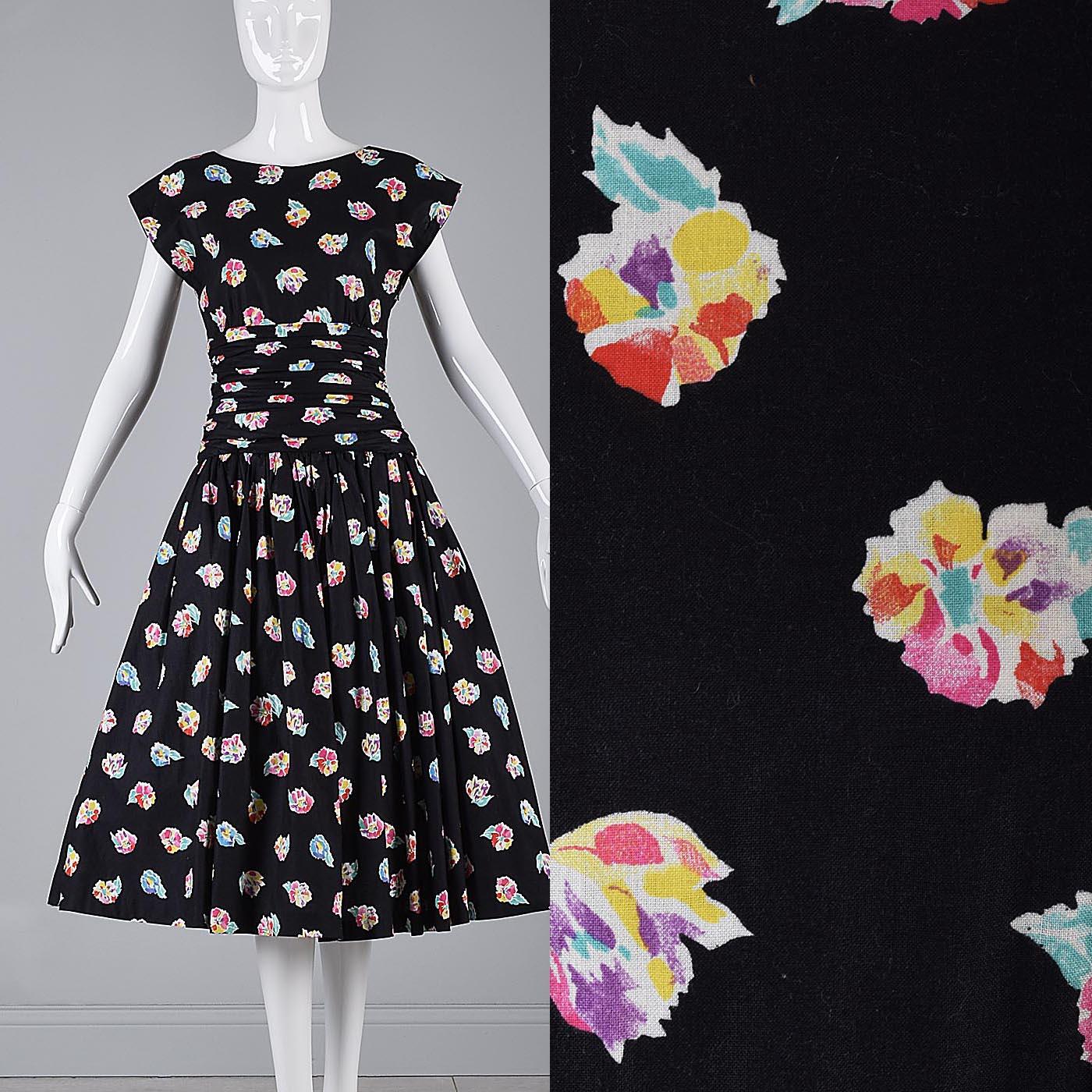 86c9a6c684ff M Vintage 1980s 80s Sleeveless Summer Dress Full Skirt Fit & Flare ...
