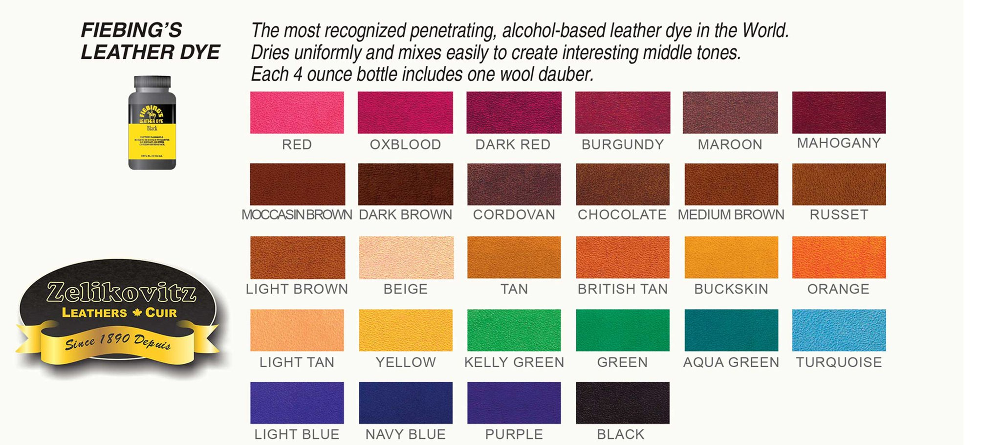 fiebing 39 s leather dye 28 colors 4 ounce bottle fiebings fiebing ebay. Black Bedroom Furniture Sets. Home Design Ideas