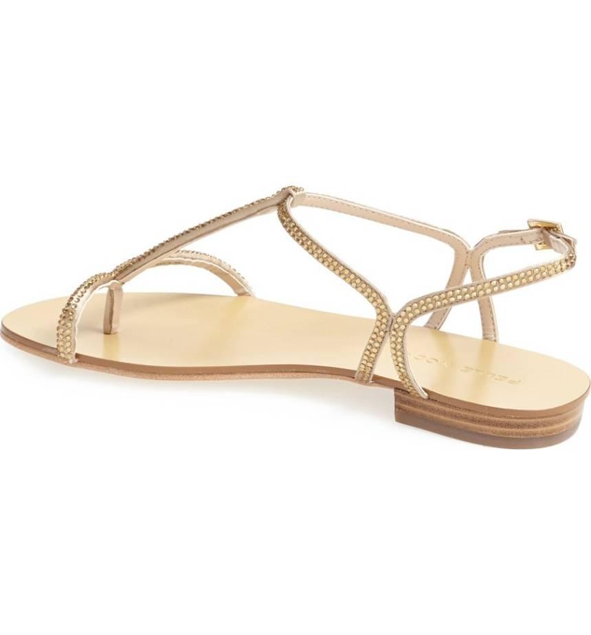 Women's Becca T Strap Thong Sandals Gold Silk (6.5M)